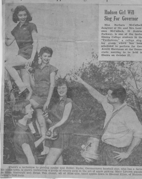 Ellen Vosburgh (Stier) on the apple picking on the ladder's top rung  in 1956.